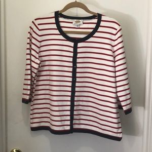 Talbots Red, White & Blue Striped Cardigan